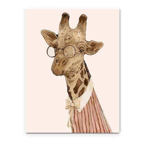 yaonuli DIY Pintar por númerosGran Cebra Animal de Dibujos Animados habitación Infantil Pintura Decorativa Lienzo Pintura Mural 40x50cm Sin Marco