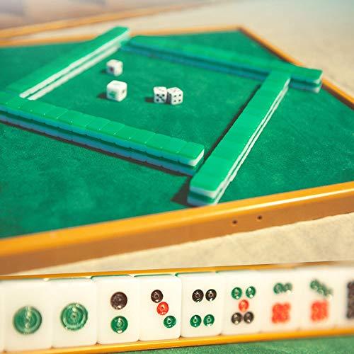 YIJIAHUI Mah Jong 15mm Mini Mahjong Juegos de Mesa Familiar portátiles Mahjong Juego Mahjong Juegos de la Familia con la Mini Tabla para Juegos de Estilo Chino (Color : Green, Size : 15×11×8mm)