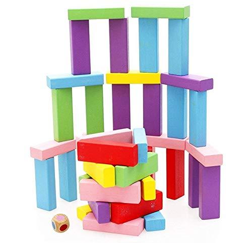 yiqi Tablero de apilamiento de Madera, Juego de Bloques de caída de la Torre de Madera Colorida para niños y Adultos, Juguetes educativos de diversión 48 Piezas