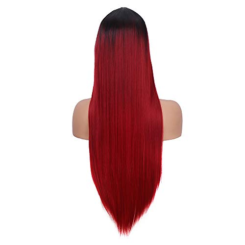 YMHPRIDE pelucas rectas negras y rojas de ombre para mujeres peluca sintética de cabello natural con aspecto natural y casquillo de peluca libre (24 pulgadas)