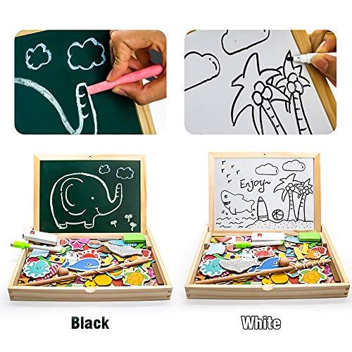 yoptote 120 Piezas Puzzles de Madera Magnético,Pizarra Magnética Rompecabezas Madera Tablero de Dibujo de Doble Cara Juguete Educativo Pesca para Niños 3 4 5 Años