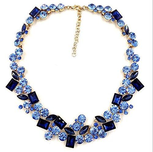 YTASN Gargantilla de moda con mosaico de cristal, azul