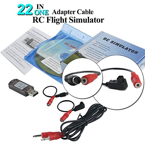 YUNIQUE- Espana 22 in 1 RC Flight Simulator Adapter Cable for G7 Phoenix 5.0 XTR VRC Transmitter, Flysky Frsky Remote Controller FPV Racing (XM-YBIH-HL5M)