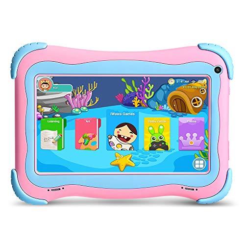 YUNTAB Tablet para Niños 7 Pulgadas Android 8.1, CPU Quad Core, 1 GB de RAM y 16 GB de ROM, iWawa Kids App, HD IPS Display, con WiFi Bluetooth(Rosa)