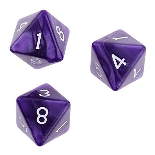 Zeagro 10pcs Dados de 8 Caras D8 Dados poliédricos para Mazmorras y Dragones Roley Jugando a los Juegos Dados de Regalo Púrpura