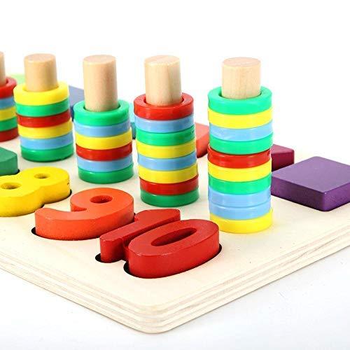 Zerodis- Juguetes educativos de Madera, 3 en 1 Conjunto de Actividades de construcción de Letras y números Juguetes educativos preescolares Forma Reconocimiento del Color Conjunto de clasificador