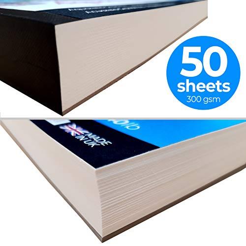 Zieler - Bloc de papel de acuarela con textura de grano fino 50 hojas, 300 g / m², 140 libras, horizontal. Ideal para remojar y enmascarar. Hecho en el Reino Unido - Incluye hoja de guía de inicio