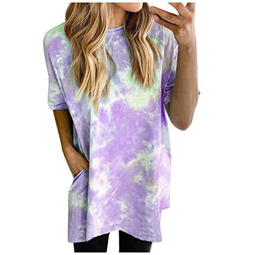 ZODOF Camiseta de Manga Corta de Color Degradado con Estampado de Arco Iris de Verano para Mujer Camiseta Suelta