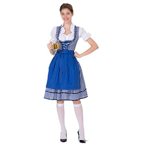 ZPEE Cosplay Trajes Dirndl De Cerveza,Encaje Oktoberfest Víspera De Todos Los Santos Delantales,Enrejado Carnaval Vestido Delantal,Actuación En Etapa Criada Workwear Azul M