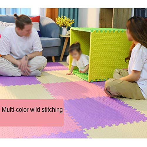 ZTMN Baby Play Mat Espuma Rompecabezas Baldosas con Borde Alfombras de Gateo Suaves para la Salud Dormitorio de la habitación de los niños, 2.5 cm de Grosor, 9 Colores, 30x30 cm (Color: Rosa, Tam