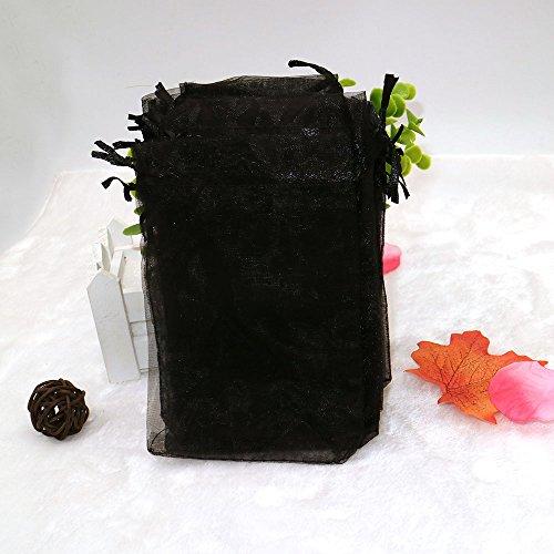 100 piezas Bolsas de Organza con cordón 10 X 15 cm, Bolsas de Regalo de Organza para Joyas, Bodas, Fiesta, Dulces, Negro