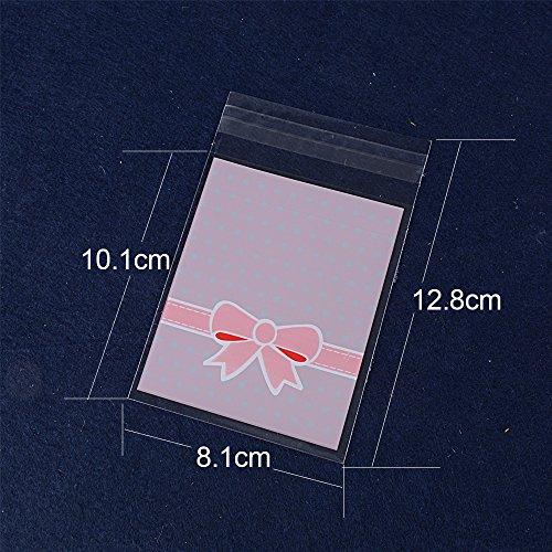 200pcs(8 * 13cm) Bolsa Celofán Auto-adhesivo Plástico OPP Pequeña Reutilizable para Regalo Caramelos Galletas Dulces Boda Bautizo Fiesta Cumpleaños Embalaje (Rosa)