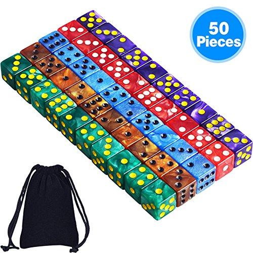AUSTOR 50 Piezas 6 - Sided Dice Set, 5 x 10 Colores Perla Square Corner Dados con Free Velvet Bolsas para Tenzi, Farkle, Yahtzee, Bunco o la enseñanza de Las matemáticas
