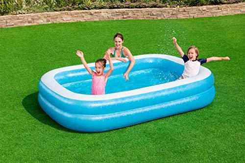 Bestway Family, Pool rechteckig für Kinder, Leicht aufbaubar, Blau, 262x175x51 cm Piscina Rectangular para niños (262 x 175 x 51 cm), Color Azul, (1054153XXX20)