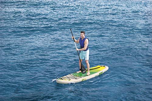 Bestway Kahawai 65308 - Tabla inflable de paddle suft con remo de aluminio, madera y verde (SUP kit con correa, bomba de hinchado con manómetro y bolsa de transporte)