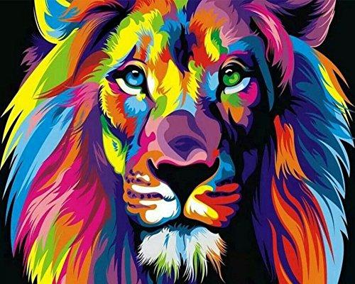 BOSHUN Pintar por Numeros para Adultos Niños Pintura por Números con Pinceles y Pinturas Decoraciones para el Hogar Colorido león (16*20 Pulgadas, Sin Marco)