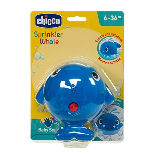 Chicco Ballenita Nada y Salpica - Juguete de baño para el agua y bañera, ballena con efecto fuente, color azul