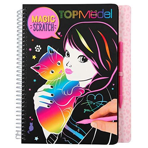 Depesche- Libro para Colorear Magic Scratch, TOPModel Kitty, Aprox. 18,5 x 22 x 2 cm, Color carbón (10795)