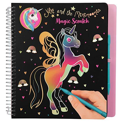 Depesche- Libro para Colorear Magic Scratch, Ylvi y los Unicornios Minimoomis, Aprox. 19,5 x 20 x 2 cm, Color carbón (10897)