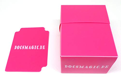 docsmagic.de Deck Box Full + 60 Double Mat Pink Sleeves Small Size - Caja & Fundas Rosa - YGO