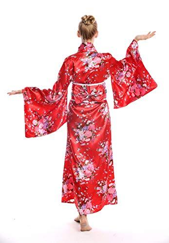 dressmeup - W-0289 Disfraz Mujer Feminino Halloween quimono Kimono Geisha Japón japonaise Chine Rojo Flores de Cerezo Talla S