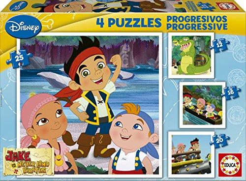 Educa Borrás Jake Y Los Piratas De Nunca Jamás - Puzzles progresivos, 12 - 16 - 20 - 25 Piezas 15598