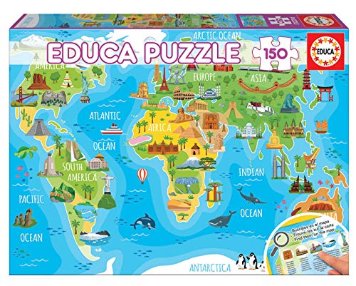 Educa- Mapamundi Monumentos Puzzle Infantil de 150 Piezas, a Partir de 6 años (18116)