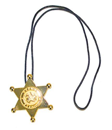 Fasching Fete–Disfraz de vaquero Sheriff Estrella Cadena Collar, 7cm estrella, bronce