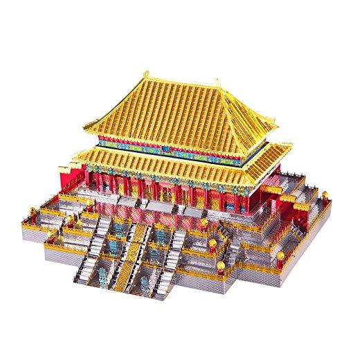 Hammer Modelo montado de edificios antiguos chinos, templo Jin Luan, 3D rompecabezas de madera for niños y adultos, decoración casera ensamblado del enigma de la construcción del partido Building Bloc