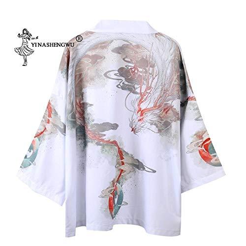HYL0 Kimono Japonés Tradicional Yukata Hombres Mujeres Kimonos Cardigan Unisex De Ocio Camisas Estampadas Disfraces Cosplay Kimono Escudo Femme ZZBiao (Color 2, Size : M)