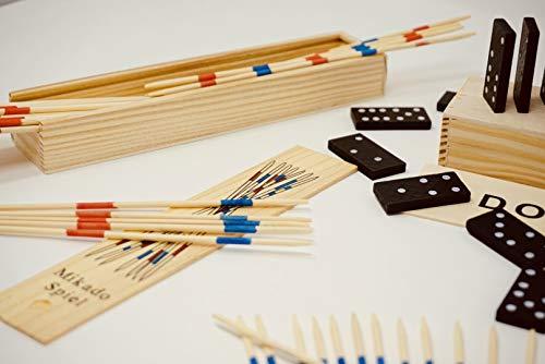 Juego de 2 juegos de Mikado y Domino, 2 unidades, colección de juegos de madera en una práctica caja de madera con instrucciones de juego (incl. Mini`s - Sorpresa lógica pensando en la motricidad