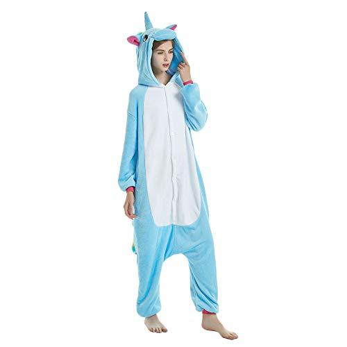 KiKa Monkey Flanela Unicornio Cartoon Animal Novedad Navidad Pijama Cosplay (L, azul)