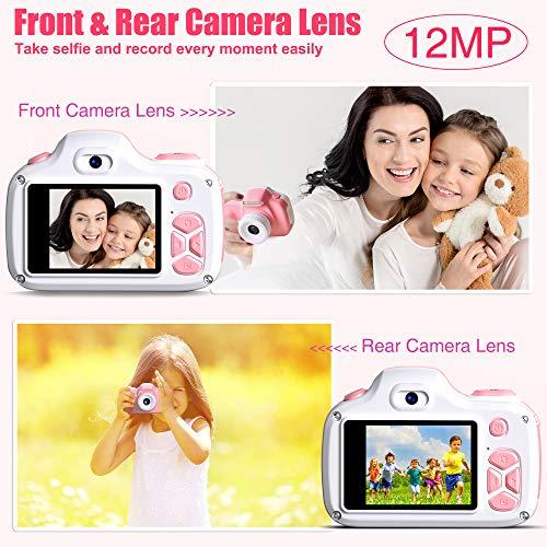 Kriogor Cámara de Fotos para Niños, Juguete Digital Cámara Zoom 2 Pulgadas 12MP 1080P HD Niño Niña Cumpleaños (Tarjeta Micro SD Incluida)