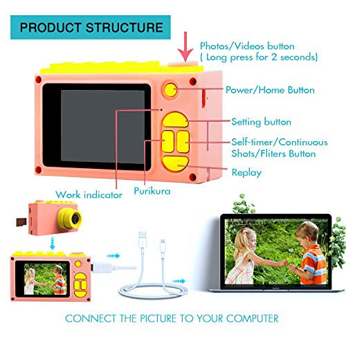 Kriogor Cámara Fotos Niña Impermeable, Digitales Juguete Cámara 4 Zoom Digital 2 Pulgadas 8MP 1080P HD Niño Regalos Cumpleaños Navidad (Tarjeta TF Incluida)