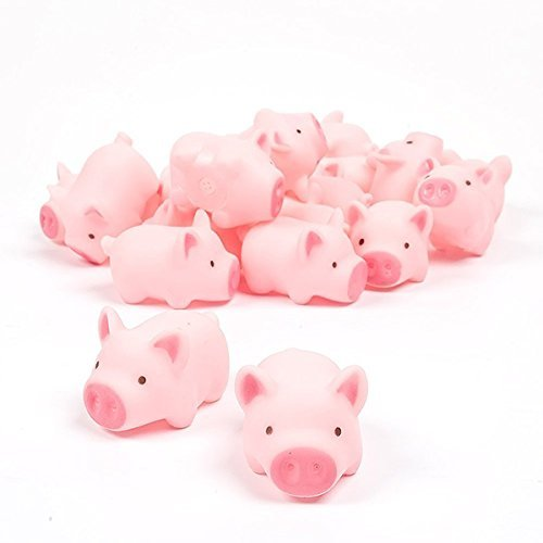 LHKJ 10 Pcs Mini Cerdos de Goma de baño para niños bebé