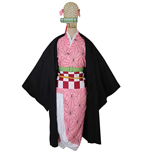 LISI Disfraz Cosplay Anime, Kimetsu No Yaiba Kamado Nezuko Kimono Japonés Ropa Juegos Carnaval, para Máscaras Fiesta Disfraces Navideñas para Niñas Mujer,Pink+Black,M