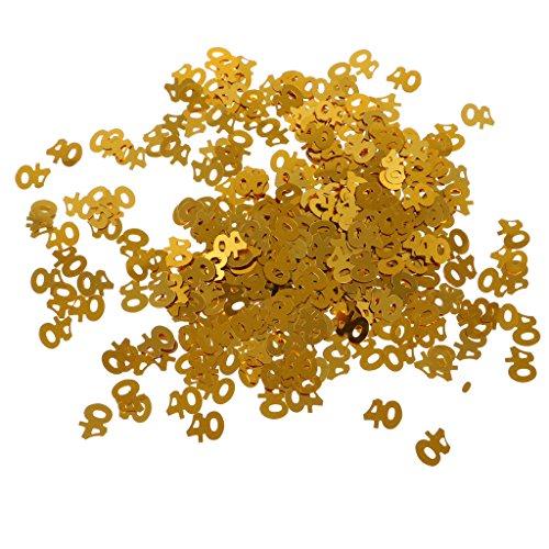 MagiDeal 1 Bolsa de Confeti de Tabla para Fiesta de Cumpleaños Impreso con Número de Edad Decoración de Aniversario de Boda Color de Oro 6 Tipos - 40
