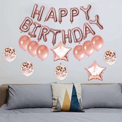 Meowoo Globos Cumpleaños Happy Birthday, 25PCS Globos Decoración 40CM Globos de Papel de Aluminio, Globos de Látex de Confeti Decoraciones de Fiesta, Apto para Personas de Todas Las Edades (Oro Rosa)