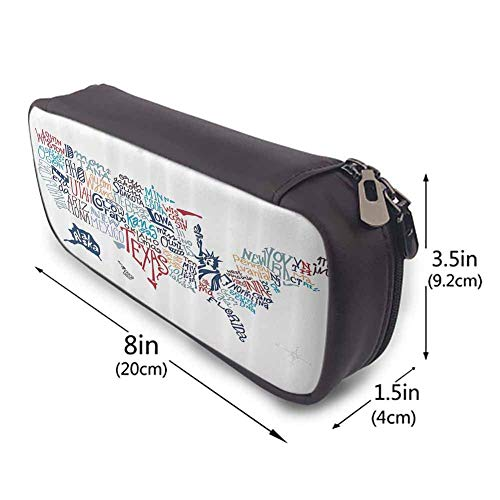 MHKG Estuche de cuero USA Map Leather Carrying Case Culture Tourist Names of American Town in Colorful Artful Typography City Design Holder Box Organizer Gifts with Zipper Closure Multicolor