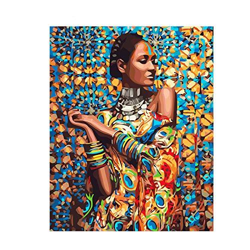 Mileelife Pintar por números para niños Adultos Kit de Pintura al óleo DIY Principiante - India Girls 1318