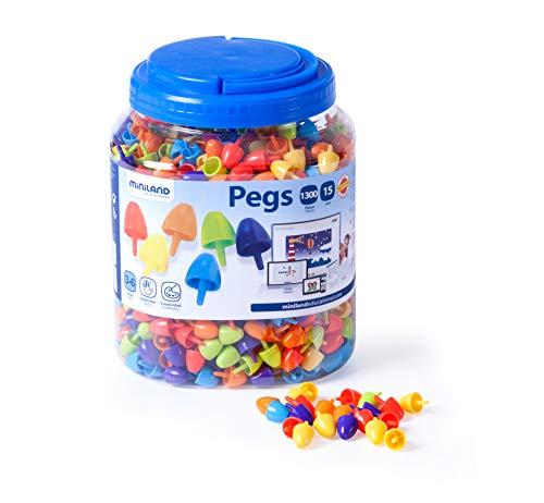 Miniland- Pegs 15 mm (1.300 Piezas) -Bright Colors Jugar con mosaicos. (31848) , color/modelo surtido