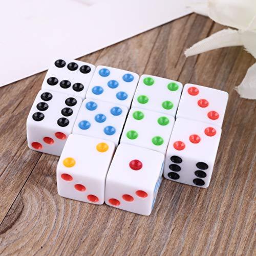 MYA 10 Piezas D6 Seis Caras Plaza Dados Dados Punto Opaco de 15 mm para el Papel del Partido del Club de Noche Game Company Juego Juguetes