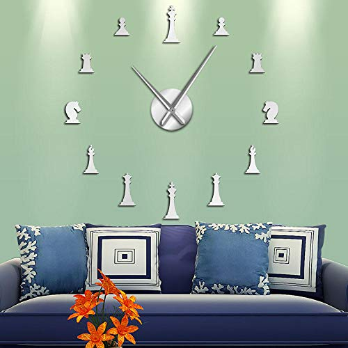 N/C Piezas de ajedrez King Queen Bishop Knight Parlor Game DIY Big Wall Clock Chessman Stickers Wall Watch Chess Player Gifts-3_47_Inch
