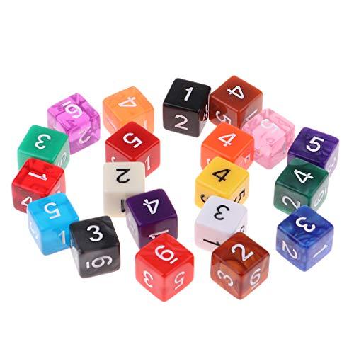P Prettyia Juego de Dados de 6 Colores Diferentes para Juegos de Mesa, Tamaño de Cada Dado Aprox. 15 X 15 X 15 Mm