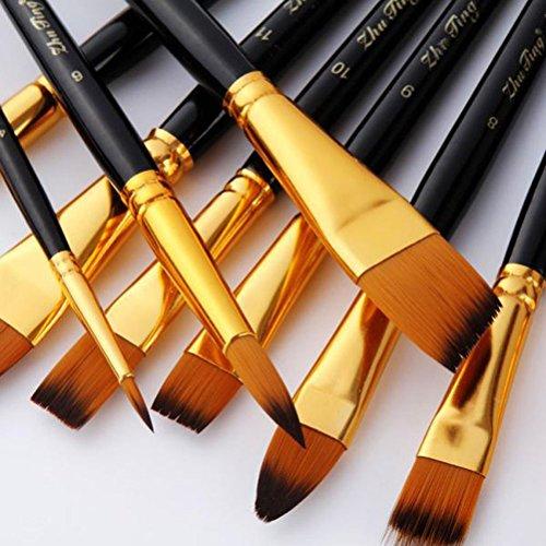 Pixnor Pintura Set 15pcs Nylon pintura pinceles brochas para pintura al óleo acrílico acuarela artista con bolsa de tela negra