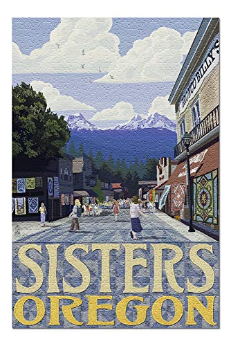 PmseK Rompecabezas Sisters, Oregon - Town Scene and Mountains Quilt Design 1000 Piece Jigsaw Puzzle