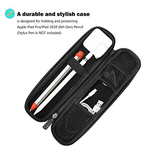 ProCase Funda para Apple Pencil, Estuche PU de Transporte Bolsa Protectora Rígida de EVA para Apple Pencil/Samsung S Pen/Lápiz para Surface, con Bolsillo de Malla y Correa Elástica -Negro