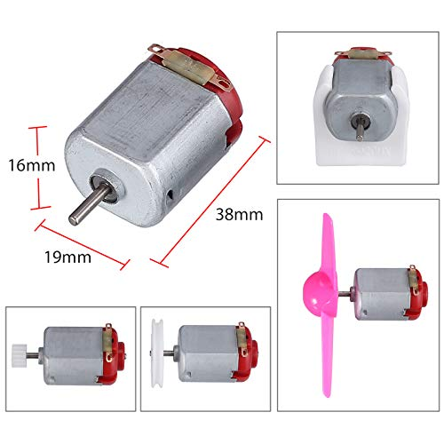 Proster Juego de Motor Eletrico Bricolaje DC Motor Mini 3V 24000RPM Kit de Motor de Coches Robot Engranaje Ruedas Hélices Espaciamiento de Batería Interruptores