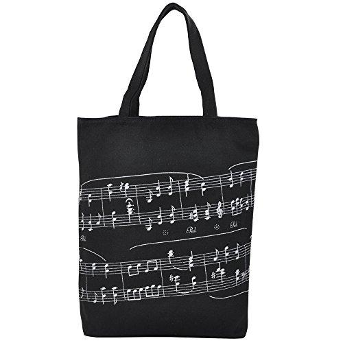 Punk de grosor algodón bolso mujeres bolsa de la compra en Muisc sol tema patrones de notas musicales 39 x 31 x 7cm negro