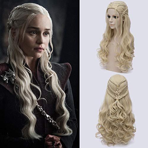 Rubyonly Juego de Tronos Daenerys Targaryen Peluca sintética Pelo Ondulado Largo del dragón de la Madre del Partido del Traje de Halloween Pelucas para Mujeres,Gold